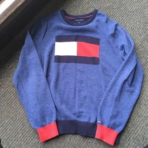 Blue Tommy Hilfiger big flag sweater